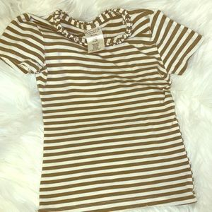 Persnickety Stripe Ruffle Neck Top 3T